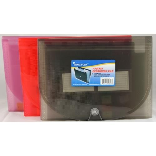 Case of [12] Expanding File - 7 pocket - Letter size- asst.colors