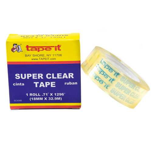 "Case of [144] Super Clear Tape Boxed - 3/4 x 1296"" x 1""core"
