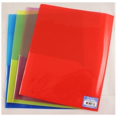 "Case of [100] Plastic 2 Pocket Folder - Assorted Colors - 8.5"" x 11"""