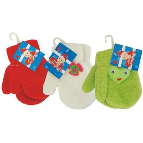 Case of [144] Infants' Fuzzy Mittens - Assorted Colors