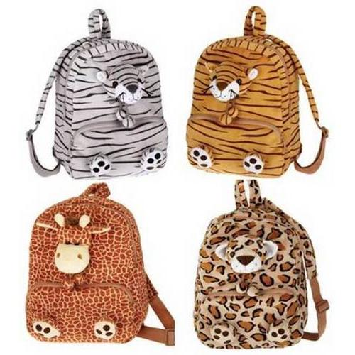 "Case of [12] 11"" Jungle Animal Plush Backpacks - Assorted Styles"