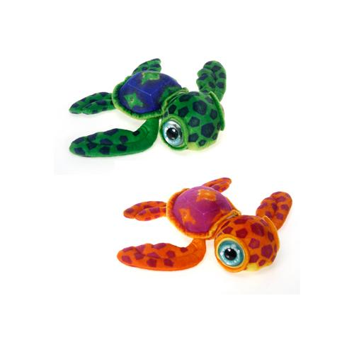 "Case of [24] 11.5"" Big Eye Turtle Plush Toy - Assorted Colors"