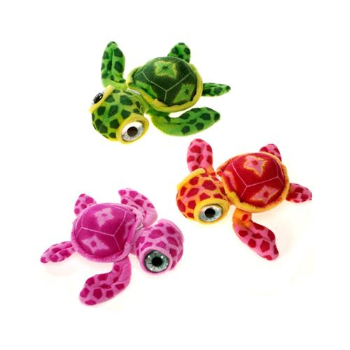 """Case of [48] 7"""" Big Eye Turtle Plush Toy - Assorted Colors"""