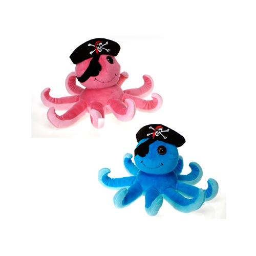 "Case of [24] 7"" Pirate Octopus Plush Toy - Assorted Colors"
