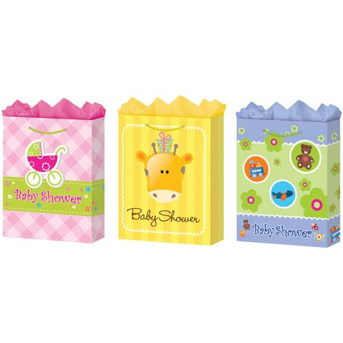 Case of [24] Large Baby Shower Gift Bags (Matte)