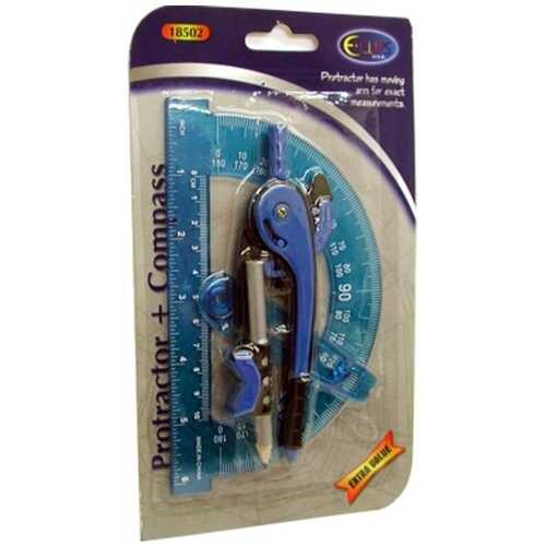 Case of [48] Protractor + Compass - 2 pack - assorted colors