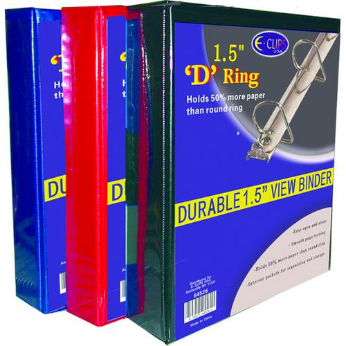 "Case of [36] Binder - D Ring - 1.5"" - Vinyl assorted colors"