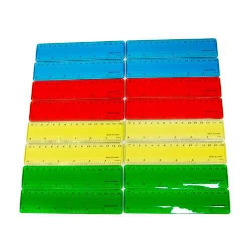 "Case of [576] Plastic 6"" Rulers- Assorted Colors"