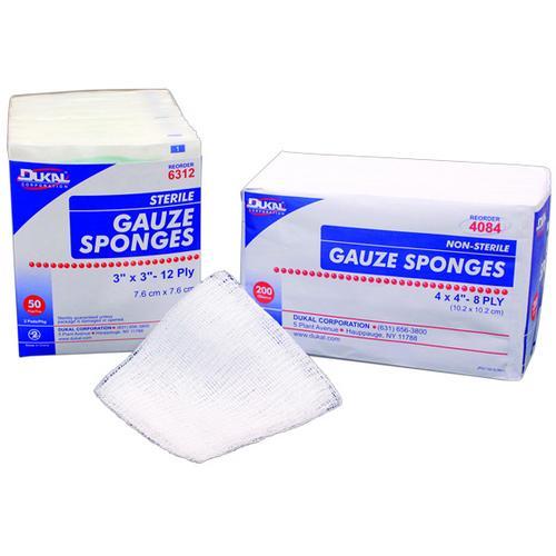 "Case of [10] Dukal Gauze Sponge, 4""x4"", 12 ply, Non-Sterile"