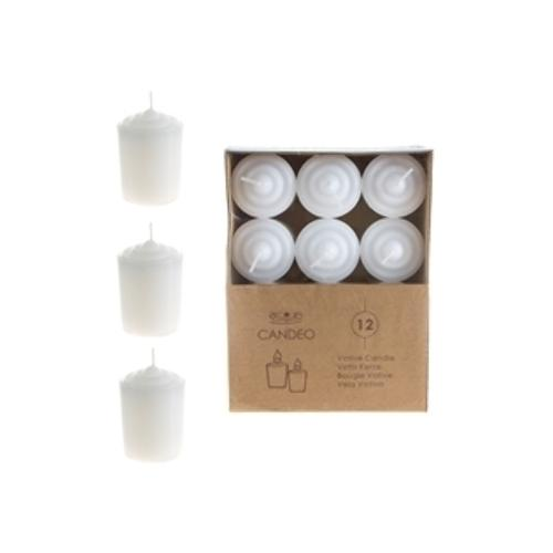 Case of [24] 12-Piece 15 Hours Unscented Votive Candles - White