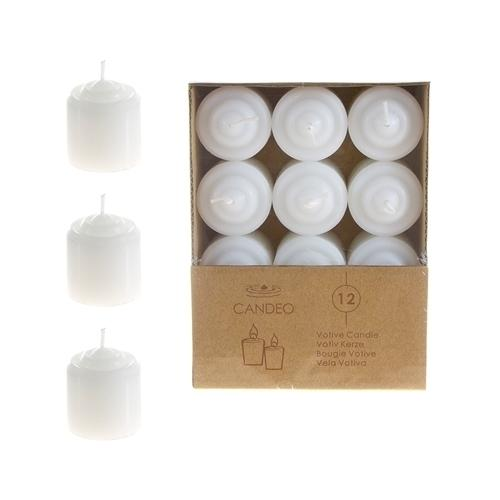 Case of [24] 12 piece 8 Hours Unscented Votive Candles - White