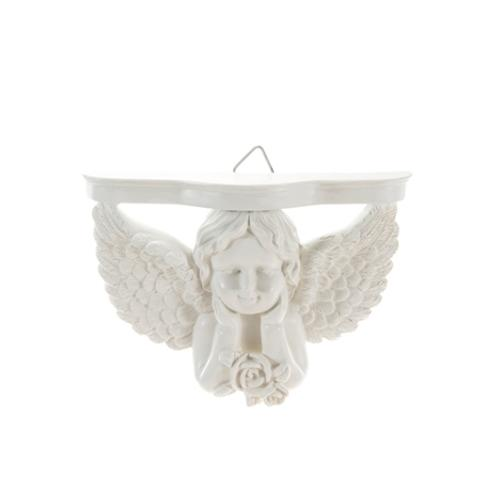 Case of [48] Angel with Wings Holding Up Chin Wall Plaque - White