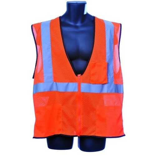 Case of [10] Class II Zipper Front Orange Safety Vest Large