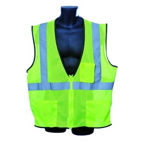 Case of [10] Class II Zipper Front Green Safety Vest Large