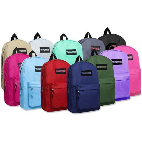 "Case of [24] 17"" Trailmaker Basic Backpack - 12 Assorted Colors"