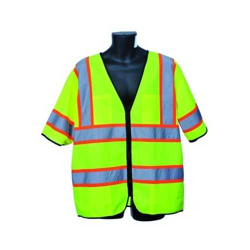 Case of [10] Green Class III Safety Vest 2XL