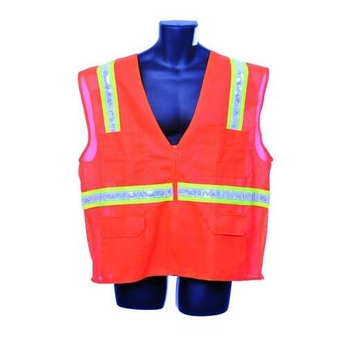 Case of [10] Orange Surveyor Vest- Mesh Back 2XL