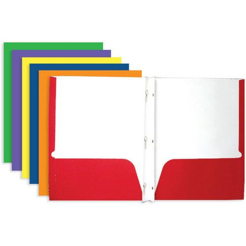 Case of [100] 2 Pocket Portfolio with Prongs - Variety Colors