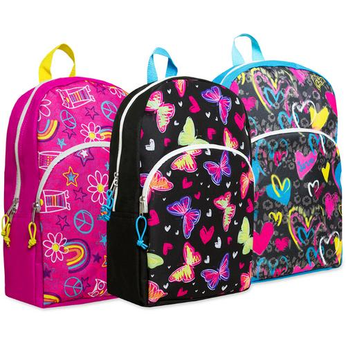 "Case of [24] 15"" Girl's Character Backpacks - 4 Assorted Prints"