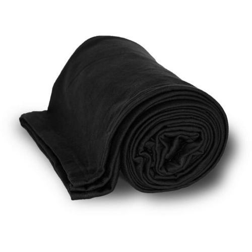"""Case of [24] Deluxe Heavyweight Sweatshirt Blanket 50"""" x 60"""" - Black"""