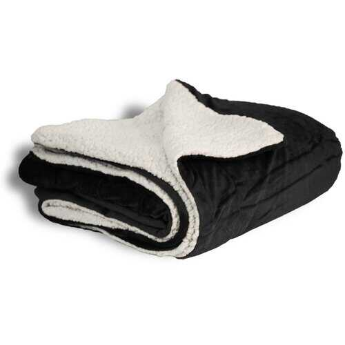 "Case of [12] Micro Mink/Sherpa Blanket 50"" x 60"" - Black"