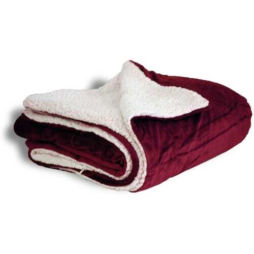 "Case of [12] Micro Mink/Sherpa Blanket 50"" x 60"" - Burgundy"