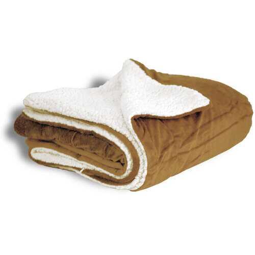 "Case of [12] Micro Mink/Sherpa Blanket 50"" x 60"" - Camel"