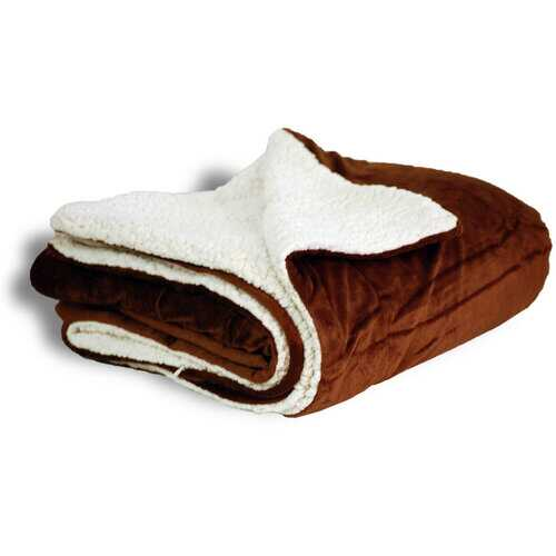 "Case of [12] Micro Mink/Sherpa Blanket 50"" x 60"" - Chocolate"