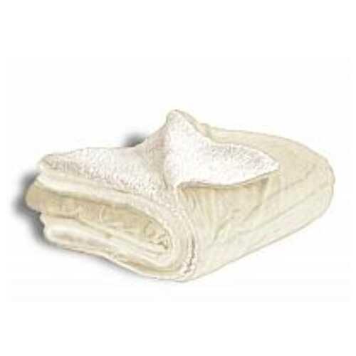 "Case of [12] Micro Mink/Sherpa Blanket 50"" x 60"" - Cream"