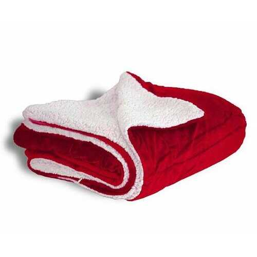 """Case of [12] Micro Mink/Sherpa Blanket 50"""" x 60"""" - Red"""