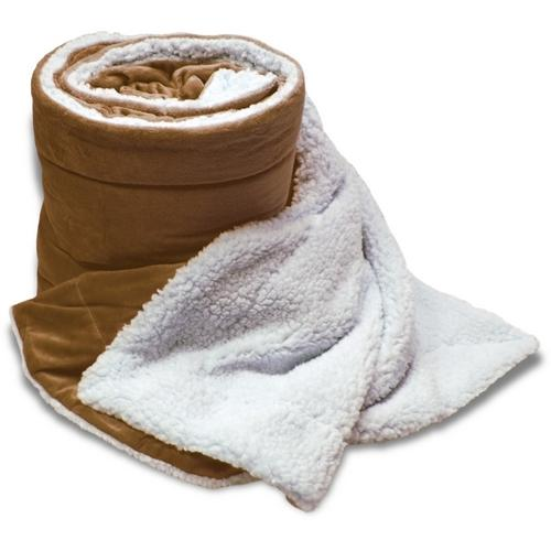 "Case of [8] Oversized Micro Mink/Sherpa Blanket 60"" x 72"" - Camel"