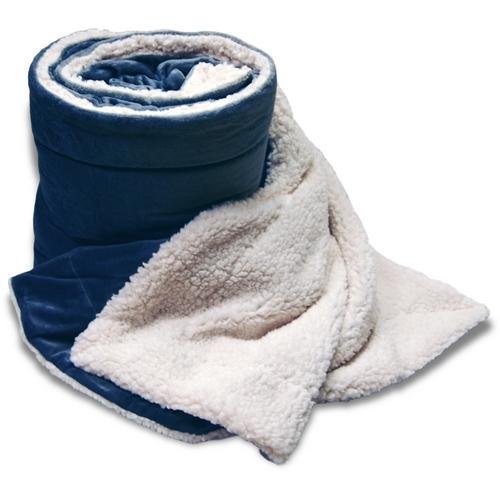 "Case of [8] Oversized Micro Mink/Sherpa Blanket 60"" x 72"" - Navy"