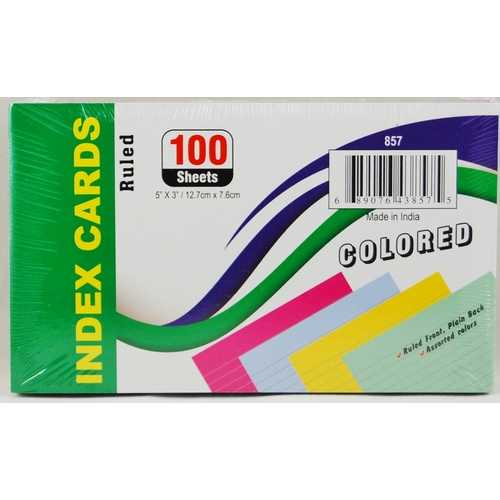 "Case of [36] 3"" x 5"" Ruled Colored Index Cards"