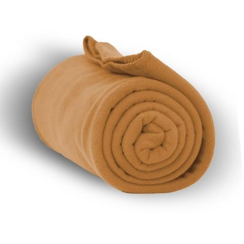 """Case of [24] Premium Fleece Blanket 50"""" x 60"""" - Camel"""
