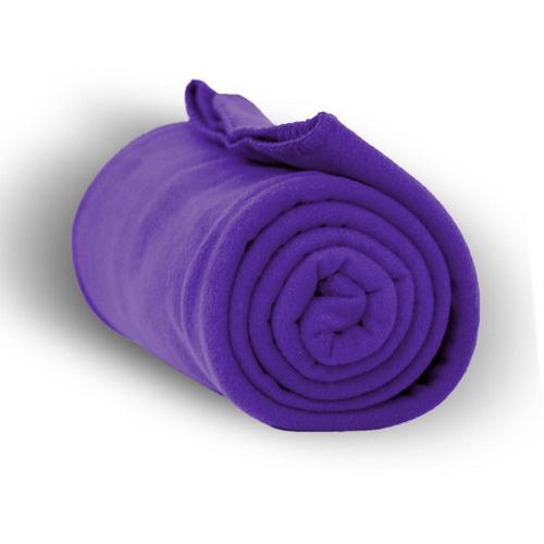 """Case of [24] Premium Fleece Blanket 50"""" x 60"""" - Purple"""
