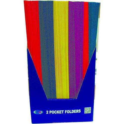 """Case of [100] Paper 2 Pocket Folder - Assorted Colors - 8.5"""" x 11"""""""
