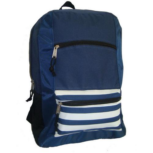 "Case of [40] 18"" Classic Striped Front Backpack- Black"