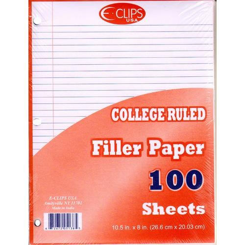 Case of [60] Filler Paper College Ruled - 100 Sheets