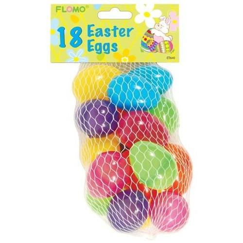 """Case of [1296] 18 count 1.8"""" Glossy Plastic Easter Eggs"""