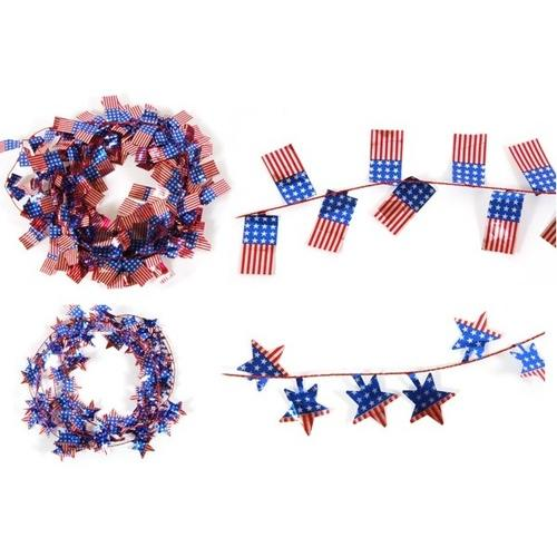 Case of [36] Patriotic Wire Garland with Die Cut Icons