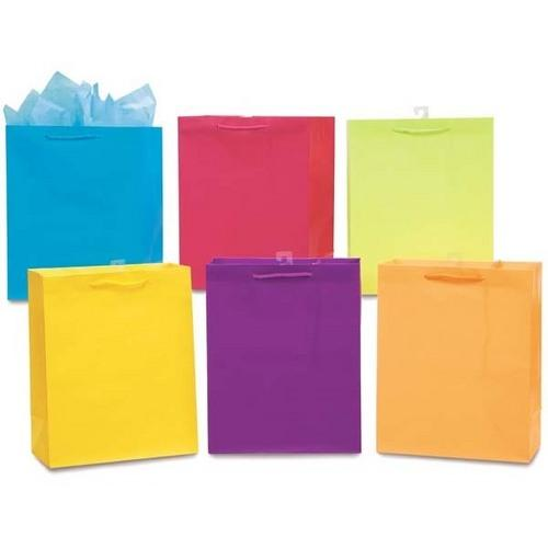 Case of [108] Extra Large Matte Solid Color Bright Gift Bags