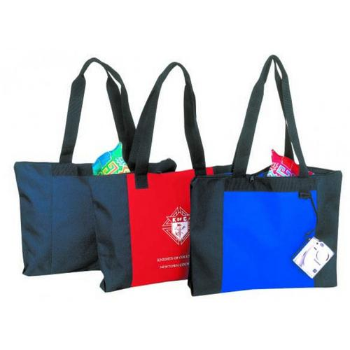 "Case of [48] Poly Zippered Tote Bag - Red/Black (20"" W x 15"" H x 3"" D)"