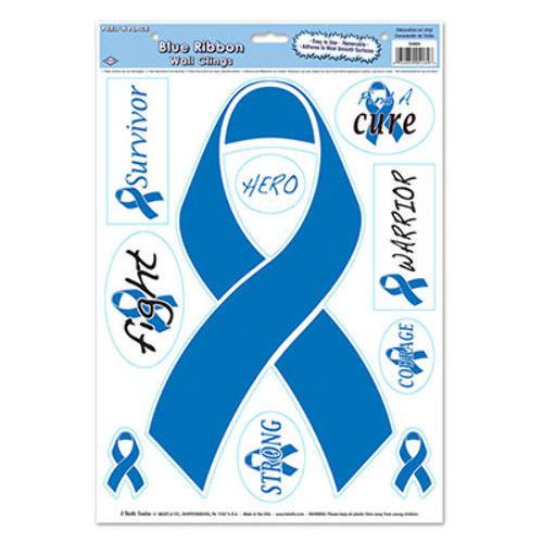 Case of [12] Beistle Blue Ribbon/Find A Cure Peel 'N Place Stickers