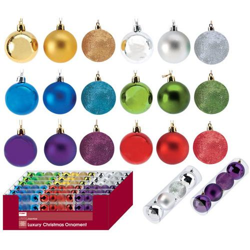 4 pack Solid Color Mixed Matte, Shiny and Glitter Ornament Balls in a tube