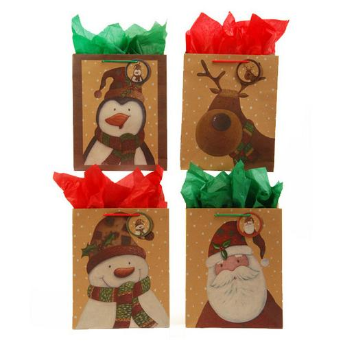 Case of [120] Kraft Printed Christmas Patchwork Gift Bags [Squar