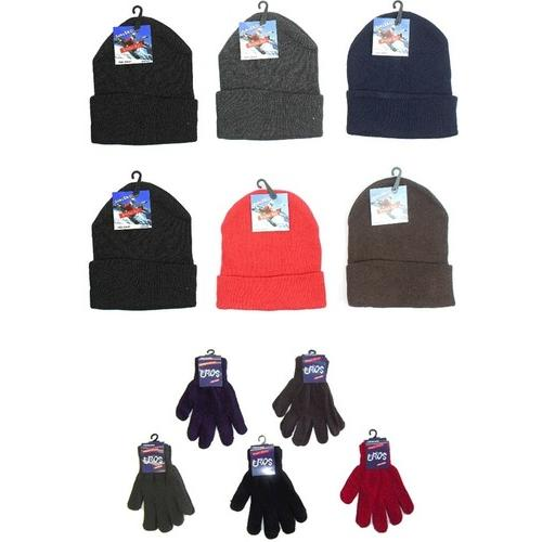 Case of [120] Children's Cuffed Knit Hats and Magic Gloves Combo