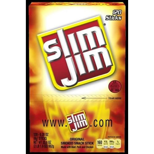 Case of [120] Slim Jim Orig Snack Stick C-Top .28Oz 120Ct