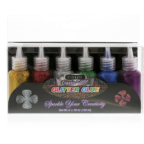 Case of [24] BAZIC 20 ml Classic Color Glitter Glue (6/pack)