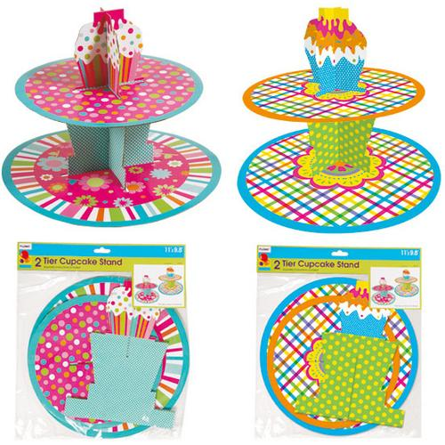 Case of [72] 2-Tier Printed Cupcake Stand for Everyday and Birthday