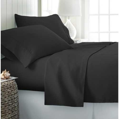 Case of [12] Full Premium Double Brushed 4 Piece Sheet Set - Black